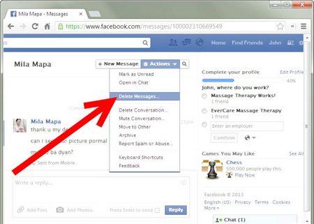 Як назавжди видалити повідомлення з Facebook