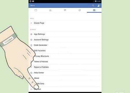 Як вийти з Facebook на планшеті Android